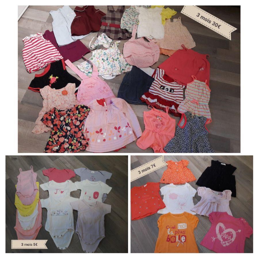 61c3b35de90c4 Lot vêtements bébé fille 3 et 6 mois